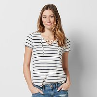 Women's SONOMA Goods for Life™ Striped Lace-Up Tee