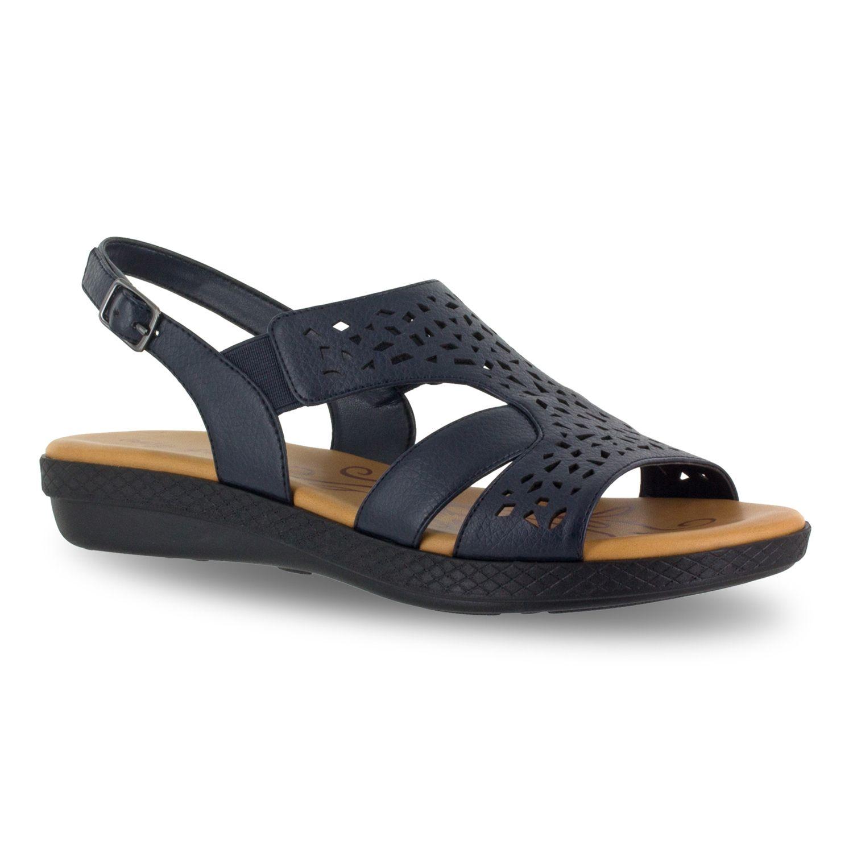 Womens wide navy sandals