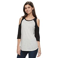8c572268020a28 Juniors  SO® High-Low Cold Shoulder Tee