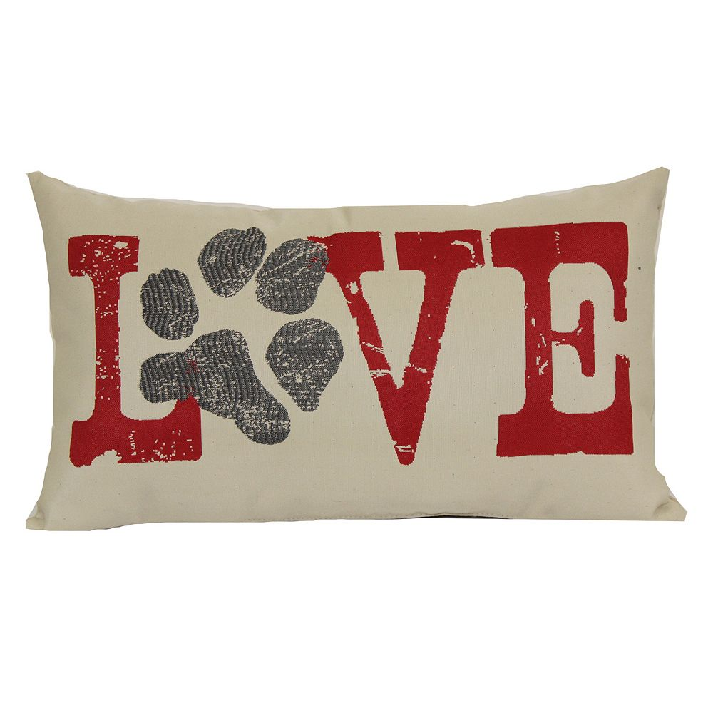 brentwood love paw print woven oblong throw pillow