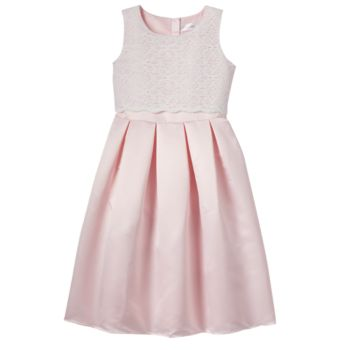 Girls 7-14 Lavender Lace Bodice Popover Ballerina Length Special Occasion Dress