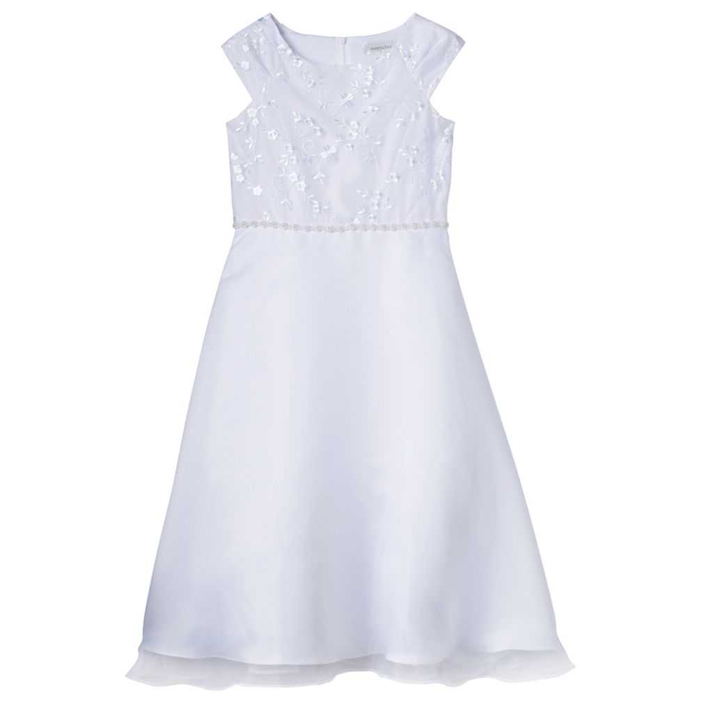 Girls 7-14 Lavender Embroidered Bodice Tea Length Special Occasion Dress