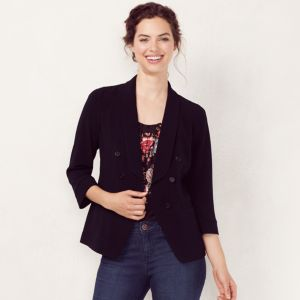 Women's LC Lauren Conrad Black Double-Breasted Blazer