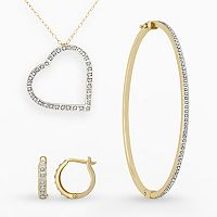 Diamond Fascination 14k Gold Diamond Accent Heart Pendant, Bangle Bracelet & Hoop Earring Set