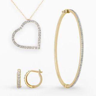 Diamond Fascination 14k Gold Diamond Accent Heart Pendant, Bangle Bracelet and Hoop Earring Set