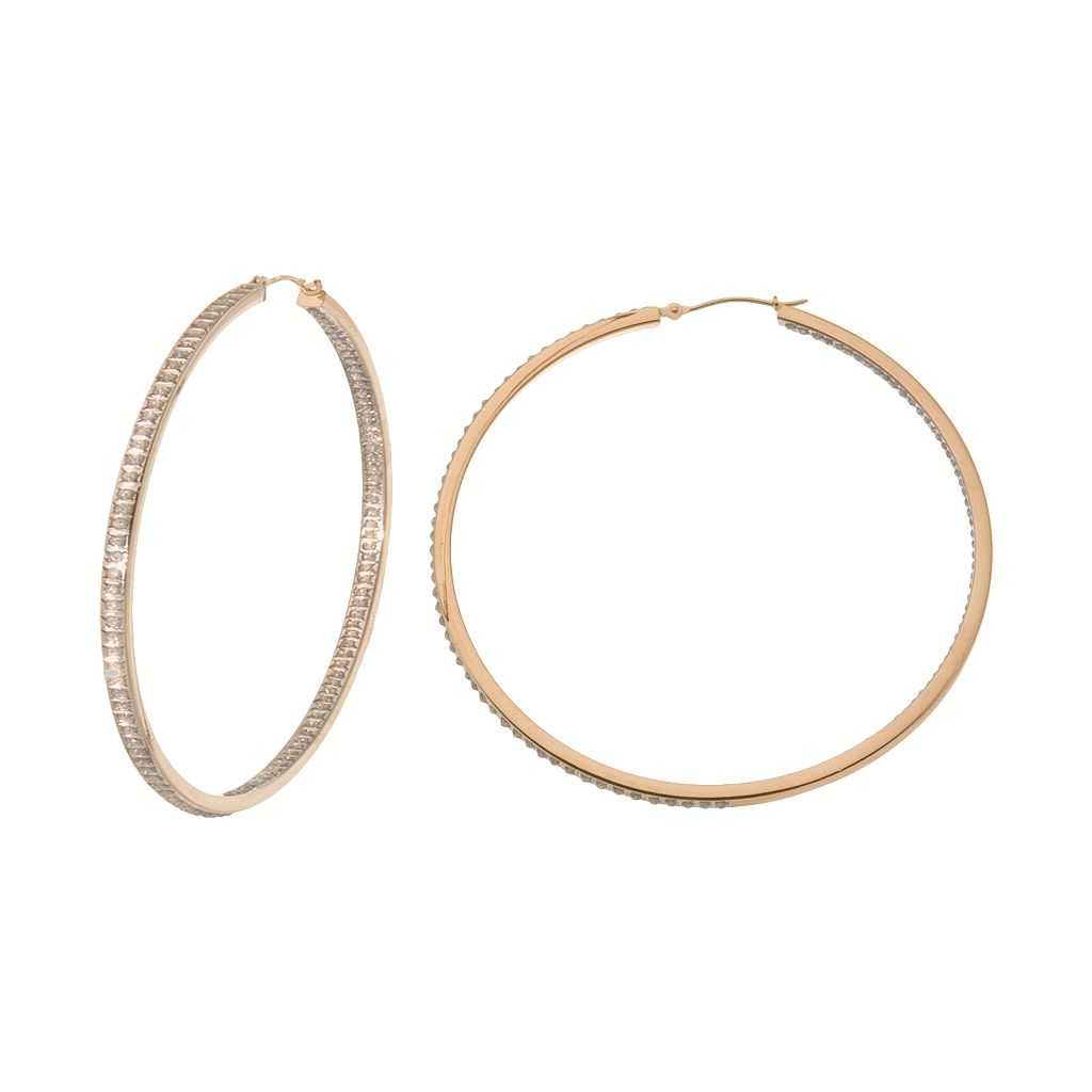 Diamond Fascination 14k Gold Diamond Accent Inside-Out Hoop Earrings