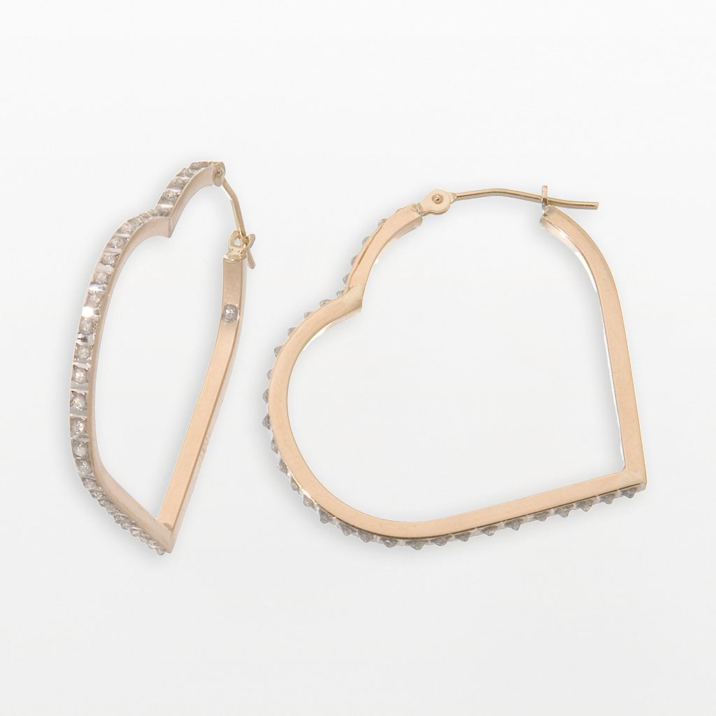 Diamond Fascination® 14k Gold Floating Heart Earrings