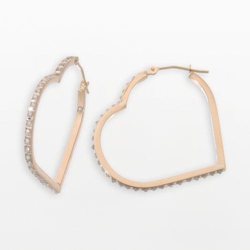 Diamond Fascination 14k Gold Floating Heart Earrings