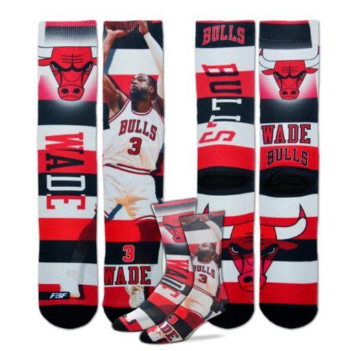 Men's For Bare Feet Chicago Bulls Dwyane Wade Pro Stripe Crew Socks