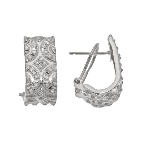 Diamond Fascination 14k White Gold Omega J Earrings