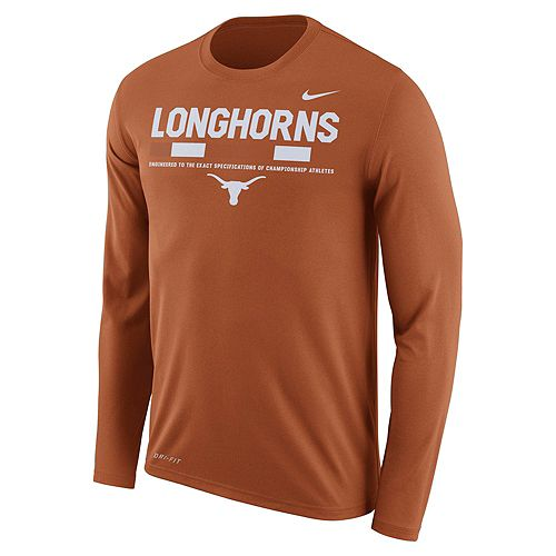 Men's Nike Texas Longhorns Dri-FIT Legend Staff Long-Sleeve Tee