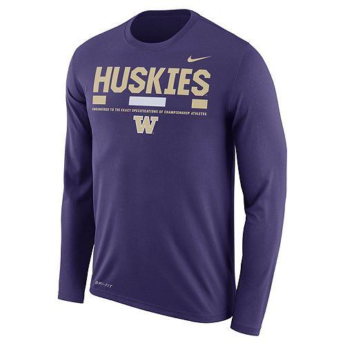 Men's Nike Washington Huskies Dri-FIT Legend Staff Long-Sleeve Tee