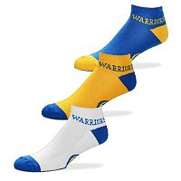 Men's For Bare Feet Golden State Warriors 3-Pack Low-Cut Socks