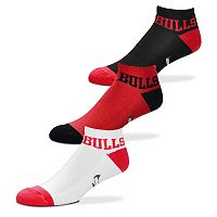 Men's For Bare Feet Chicago Bulls 3-Pack Low-Cut Socks