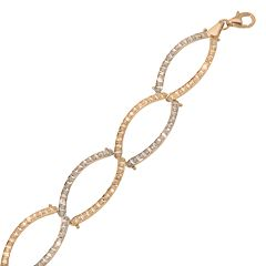 Diamond Fascination 14k Gold Two Tone Diamond Accent Oval Link Bracelet