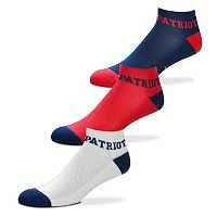 Men's For Bare Feet New England Patriots 3-Pack Low-Cut Socks