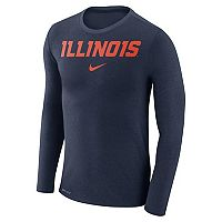 Men's Nike Illinois Fighting Illini Marled Long-Sleeve Dri-FIT Tee