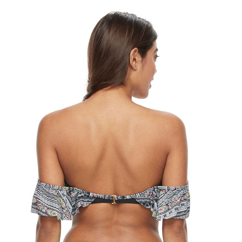 Mix and Match Geometric Off-the-Shoulder Bikini Top