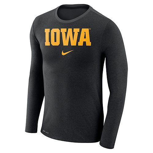 Men's Nike Iowa Hawkeyes Marled Long-Sleeve Dri-FIT Tee
