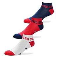 Men's For Bare Feet Boston Red Sox 3-Pack Low-Cut Socks