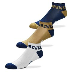 Men's For Bare Feet Milwaukee Brewers 3-Pack Low-Cut Socks