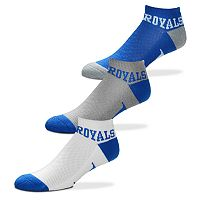 Men's For Bare Feet Kansas City Royals 3-Pack Low-Cut Socks