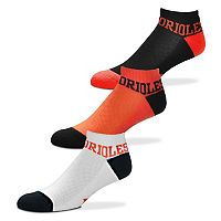 Men's For Bare Feet Baltimore Orioles 3-Pack Low-Cut Socks