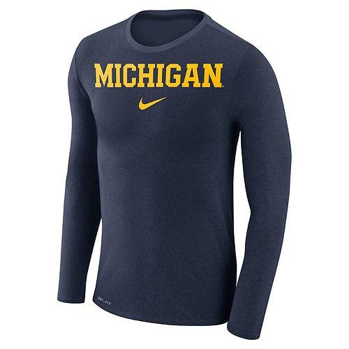 Men's Nike Michigan Wolverines Marled Long-Sleeve Dri-FIT Tee