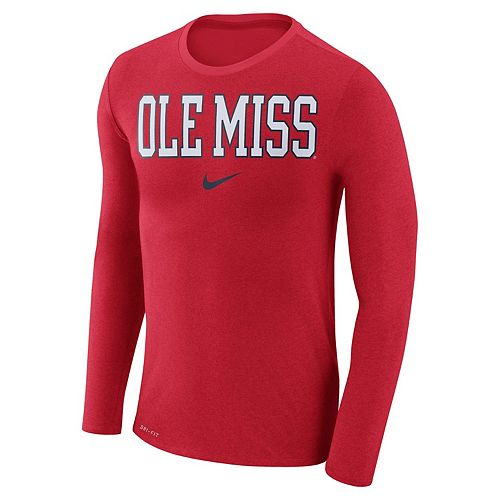 Men's Nike Ole Miss Rebels Marled Long-Sleeve Dri-FIT Tee