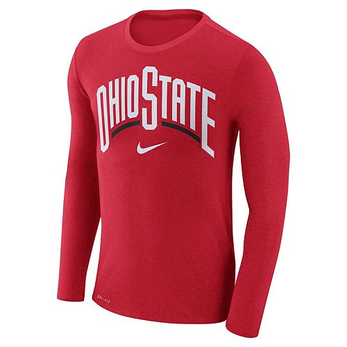 Men's Nike Ohio State Buckeyes Marled Long-Sleeve Dri-FIT Tee