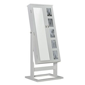 White Jewelry Armoire 5-Opening Frame Cheval Floor Mirror