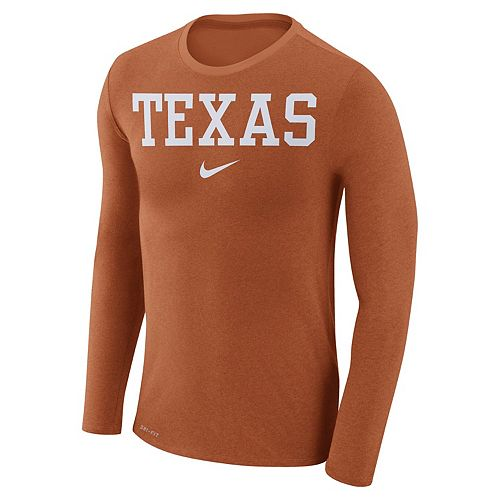 Men's Nike Texas Longhorns Marled Long-Sleeve Dri-FIT Tee
