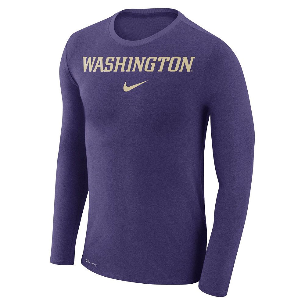 Men's Nike Washington Huskies Marled Long-Sleeve Dri-FIT Tee