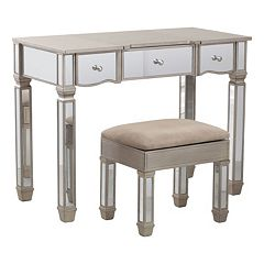 Rodeo Mirrored Vanity & Stool 2-piece Set