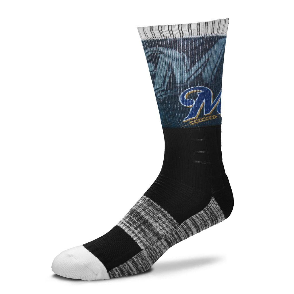 Men's For Bare Feet Milwaukee Brewers Blackout Crew Socks