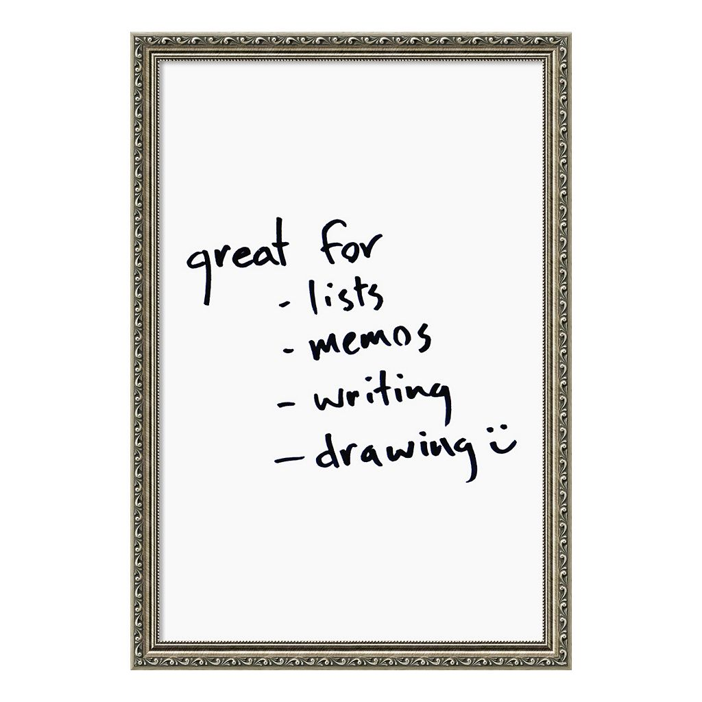 Amanti Art Silver Finish Framed Dry Erase Board Wall Decor
