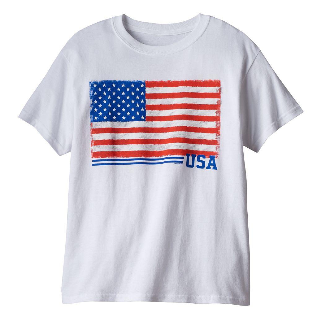 Boys 8-20 USA Flag Core Value Tee