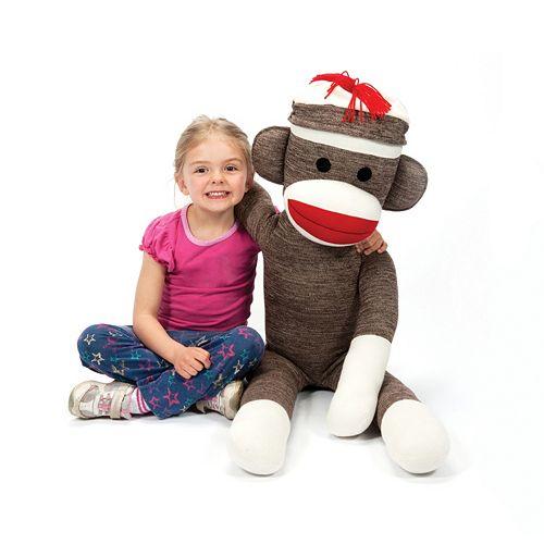 Schylling Jumbo Sock Monkey Stuffed Animal