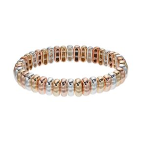 Napier Tri Tone Metallic Bead Stretch Bracelet