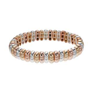 Napier Tri Tone Metallic Bead Stretch Bracelet