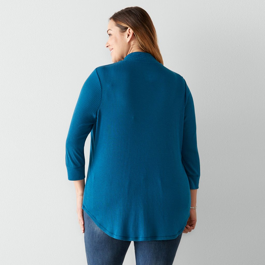 Plus Size SONOMA Goods for Life™ Essential Ribbed Mockneck Tee