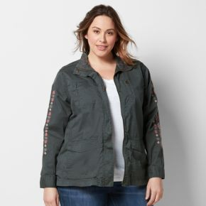 Plus Size SONOMA Goods for Life? Embroidered Utility Jacket