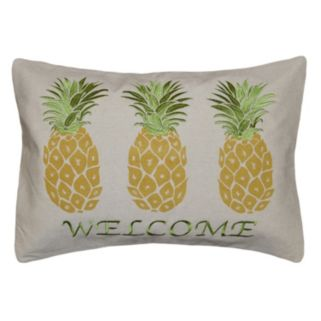Spencer Home Decor ''Welcome'' Pineapple Embroidered Oblong Throw Pillow
