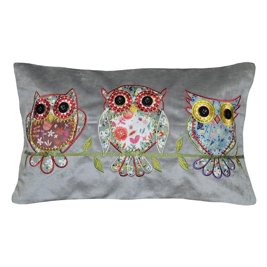 Spencer Home Decor Tres Owls Applique Oblong Throw Pillow