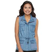 Juniors' Candie's® Eyelet Utility Chambray Vest