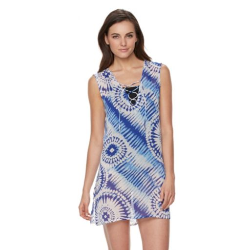Women's Apt. 9  Sleeveless Lace Up Tie Dye Cover-Up