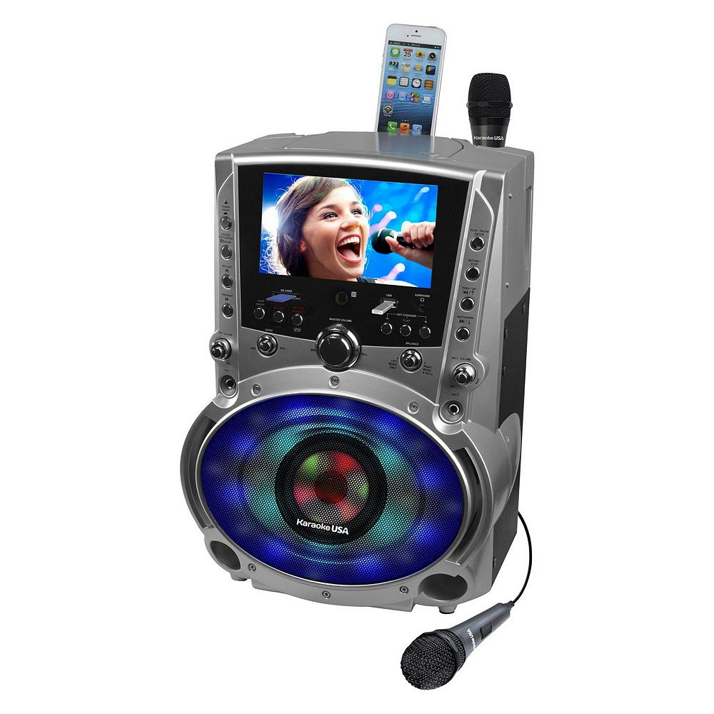 Karaoke USA Bluetooth Karaoke System with CD, DVD & LED Sync Lights