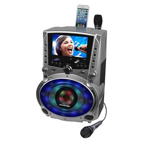 Karaoke USA Bluetooth Karaoke System with CD, DVD & LED Sync Lights