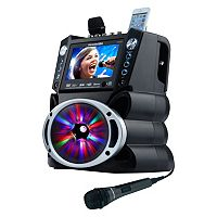 Karaoke USA Bluetooth Karaoke System with CD, DVD, MP3-G & LED Sync Lights