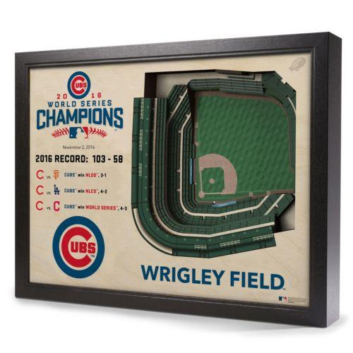 Chicago Cubs 2016 World Series Champions Wrigley Field Stadium 3D Wall Art